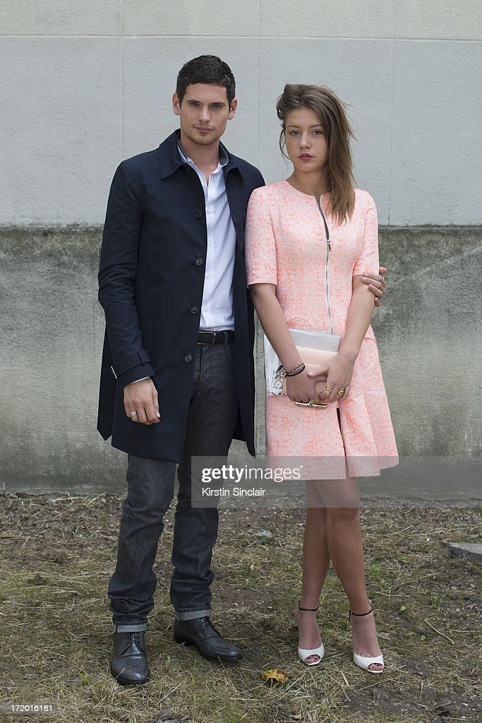 Actor Jeremie Laheurte and actress Adele Exarchopoulos on day 4 of Paris Collections: Men on June 29, 2013 in Paris, France.