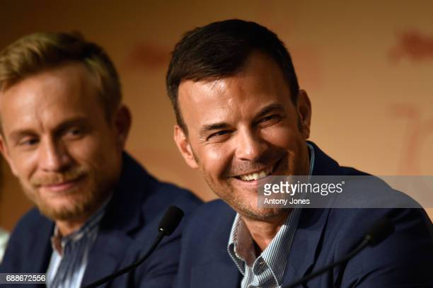 Actor Jeremie Renier and Director Francois Ozon attends the 'Amant Double ' Press Conferenceduring the 70th annual Cannes Film Festival at Palais des...