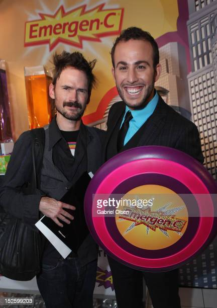 Actor Jeremy Davies and celebrity blogger Micah Jesse with EmergenC in the Presenters Gift Lounge Backstage in celebration of the 64th Primetime Emmy...