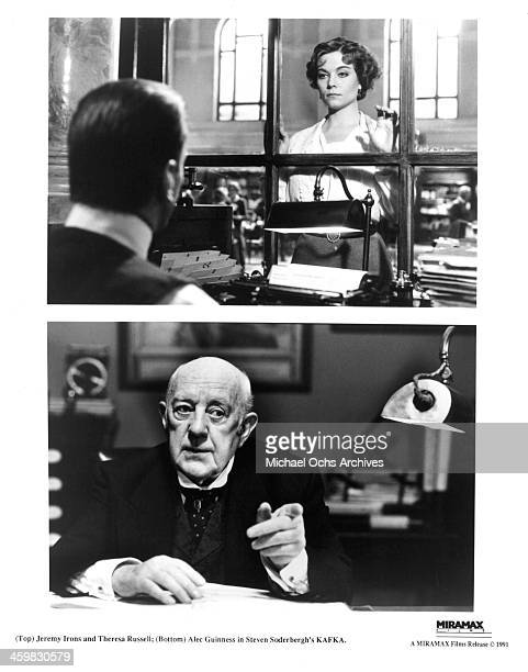 Actor Jeremy Irons and actress Theresa Russell on set actor Alec Guinness on set of the movie 'Kafka' circa 1991