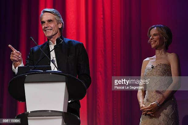 Actor Jeremy Irons and host of the festival Sonia Bergamasco attend the opening ceremony during the 73rd Venice Film Festival at Sala Grande on...