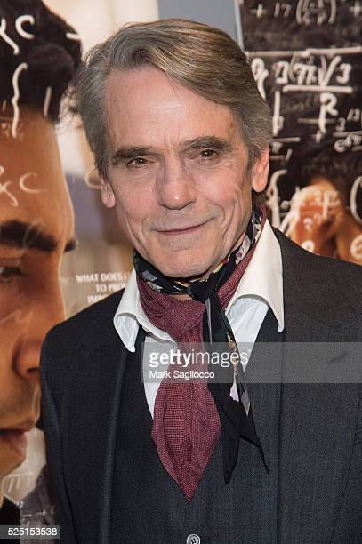 Actor Jeremy Irons attends 'The Man Who Knew Infinity' New York Screening at the Chelsea Bow Tie Cinemas on April 27 2016 in New York City