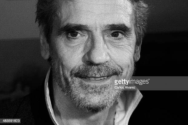 Actor Jeremy Irons attends the Night Train to Lisbon premiere at the Palafox cinema on April 9 2014 in Madrid Spain