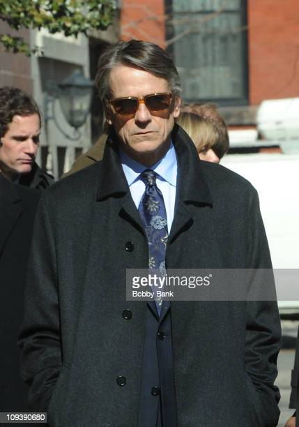 Actor Jeremy Irons filming on location for 'Law Order SVU' on the streets of Manhattan on February 23 2011 in New York City