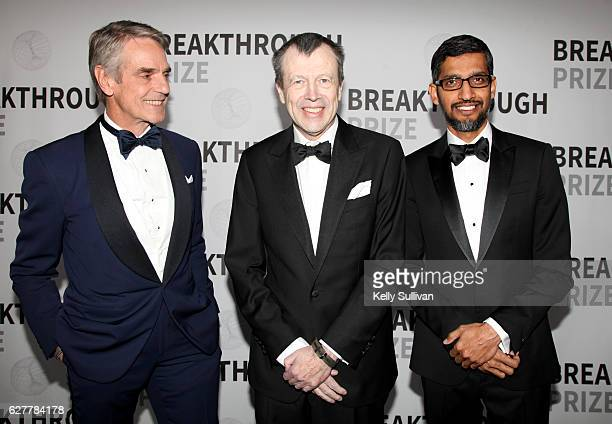 Actor Jeremy Irons mathematician Jean Bourgain and CEO of Google Sundar Pichai backstage during the 2017 Breakthrough Prize at NASA Ames Research...