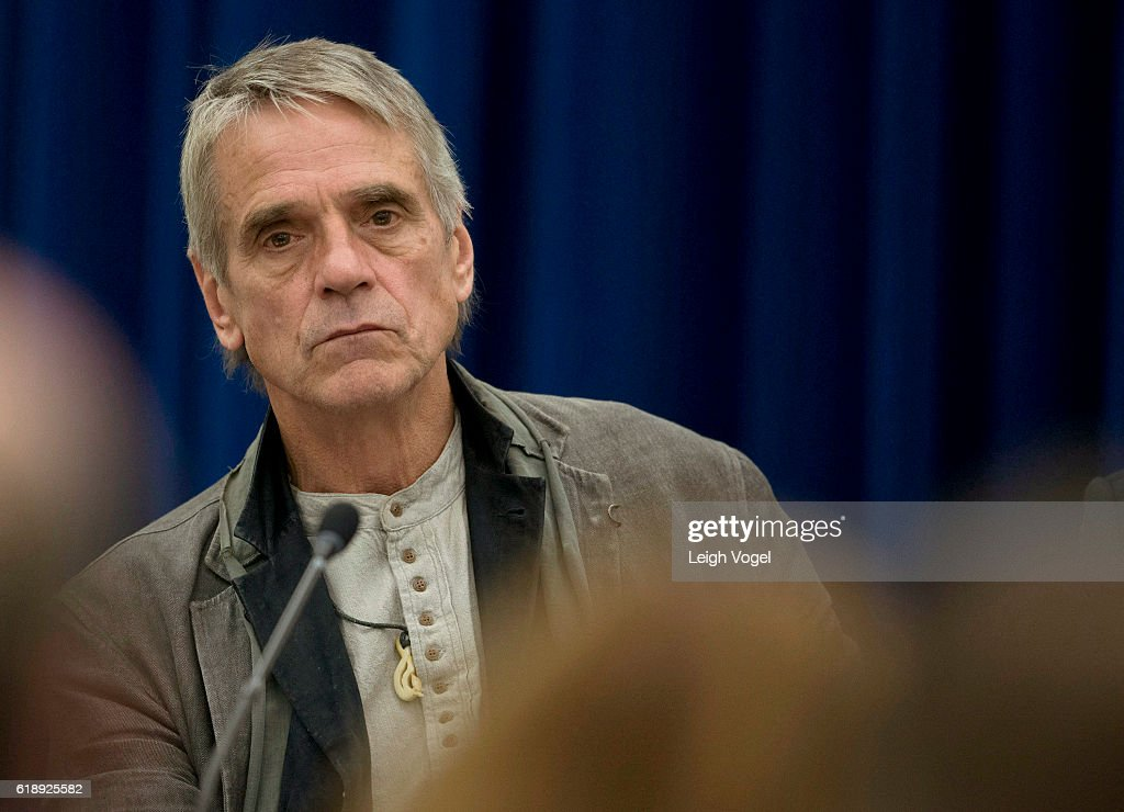 Actor Jeremy Irons participates in the White House 'Math and the Movies' event, which includes a panel discussion and screening of the film 'The Man Who Knew Infinity,' in which Irons stars, at the Eisenhower Executive Office on October 28, 2016 in Washington, DC.