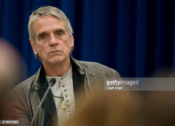 Actor Jeremy Irons participates in the White House 'Math and the Movies' event which includes a panel discussion and screening of the film 'The Man...