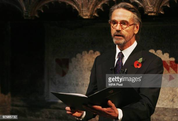 Actor Jeremy Irons reads out 'Last Post' written by Carol Ann Duffy during a memorial service to mark the passing of the World War I generation at...