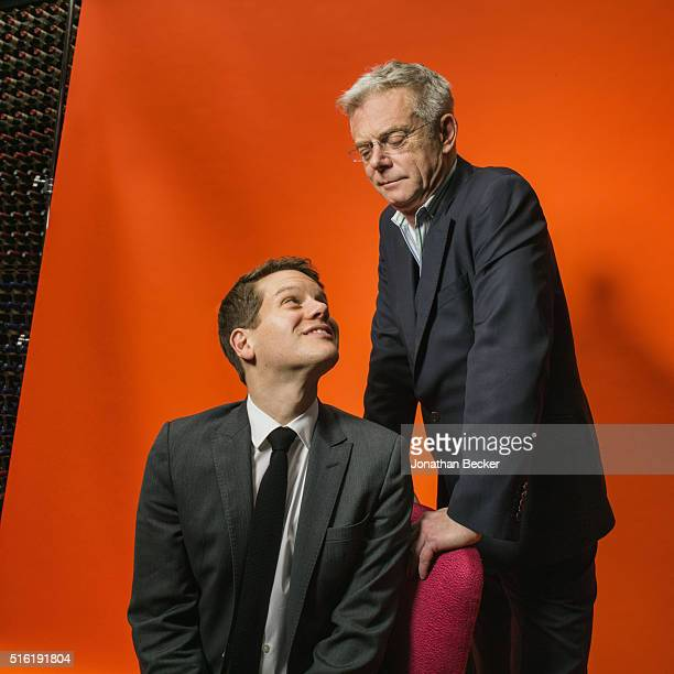 Actor Jeremy Irvine and director Stephen Daldry are photographed at the Charles Finch and Chanel's PreBAFTA on February 7 2015 in London England...