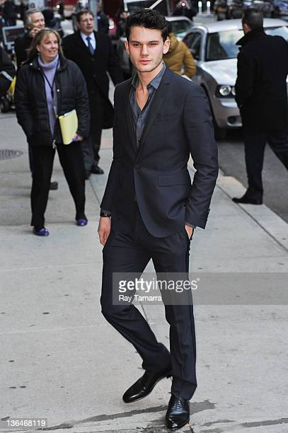 """Actor Jeremy Irvine enters the """"Late Show With David Letterman"""" taping at Ed Sullivan Theater on January 5, 2012 in New York City."""