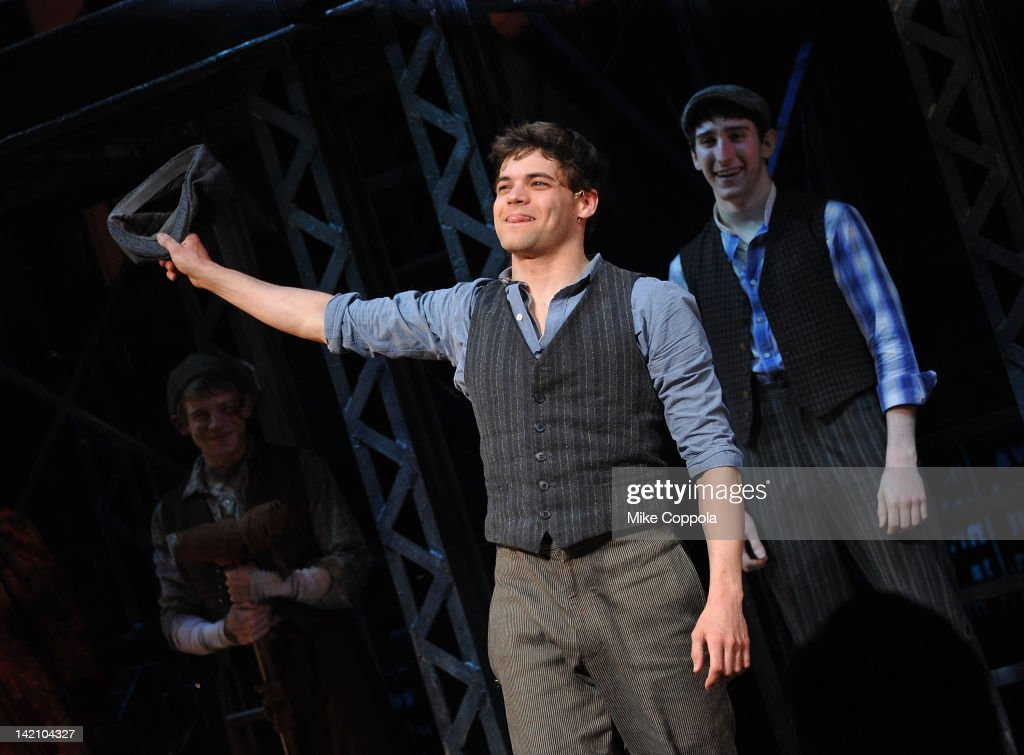 actor jeremy jordan takes a curtain call at newsies broadway opening picture id142104327