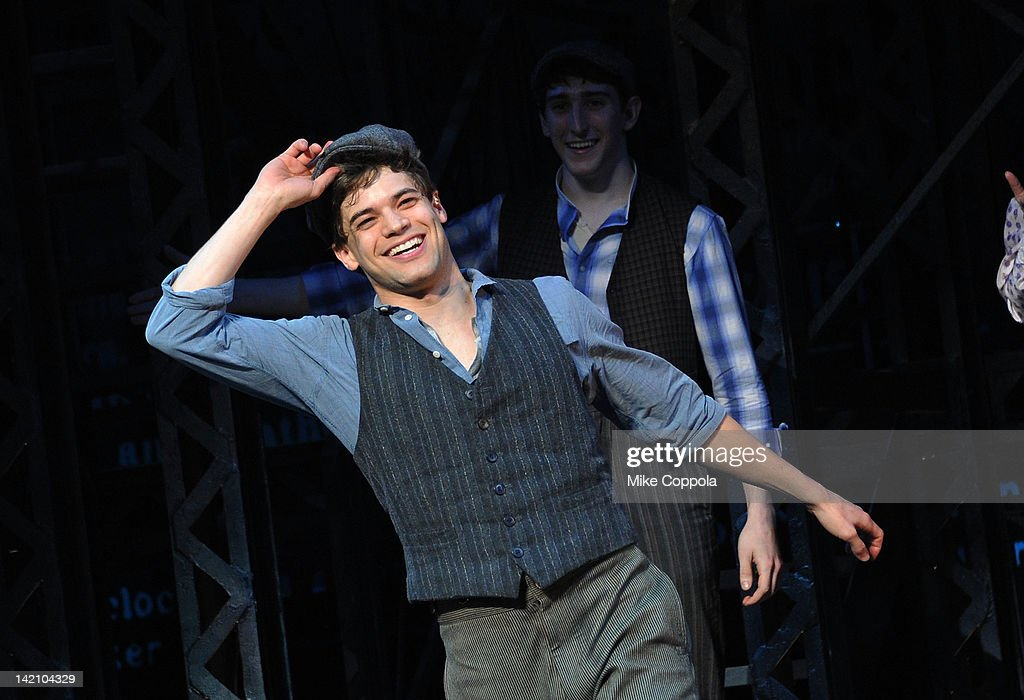 actor jeremy jordan takes a curtain call at newsies broadway opening picture id142104329