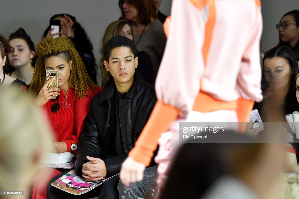 Actor Jeremy L. Carver attends the Marcel Ostertag front row during New York Fashion Week: The Shows at Gallery II at Spring Studios on February 14, 2018 in New York City.
