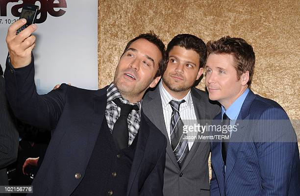 Actor Jeremy Piven actor Jerry Ferrara and actor Kevin Connolly arrive at HBO's Entourage Season 7 premiere held at Paramount Theater on the...