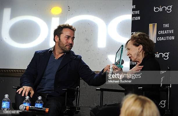 Actor Jeremy Piven and his mother Joyce Piven attends The Creative Coalition's Teachers Making a Difference Luncheon Presented by Bing on January 25,...