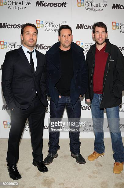 Actor Jeremy Piven, Entourage creator Doug Ellin and Entourage Executive Producer Rob Weiss at the launch of Microsoft Office Live Workspace on March...