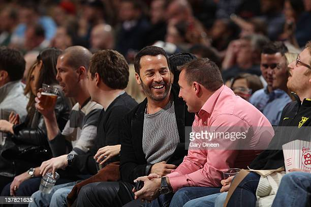 Actor Jeremy Piven sits courtside during the NBA game between the Milwaukee Bucks and the Chicago Bulls on January 27 2012 at the United Center in...