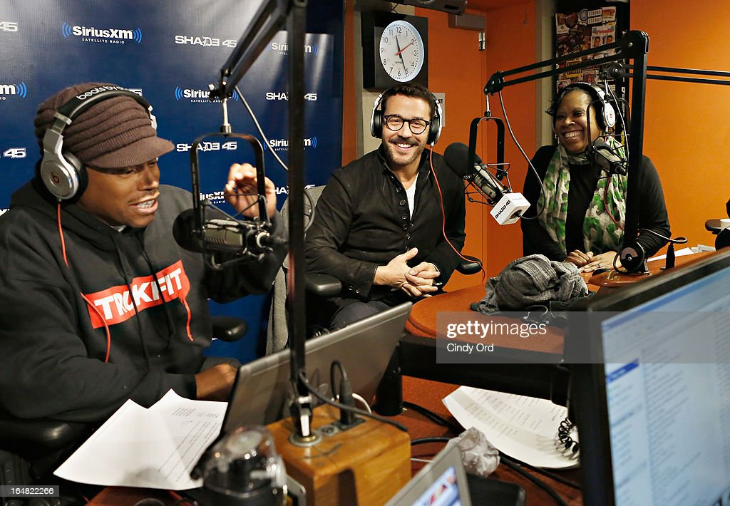 """Actor Jeremy Piven (C) visits """"Sway in the Morning"""" on Eminem's Shade 45 channel at the SiriusXM Studios on March 28, 2013 in New York City."""