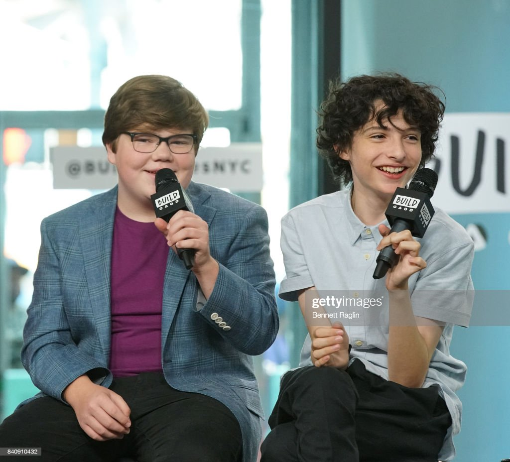Actor Jeremy Ray Taylor and Finn Wolfhard attend Build to discusss the movie 'IT' at Build Studio on August 30, 2017 in New York City.