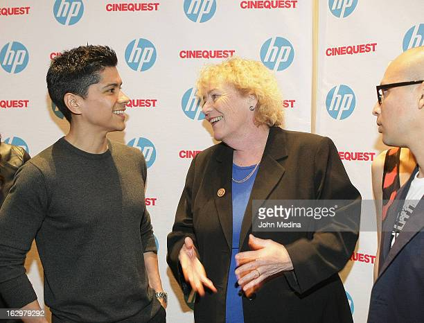 Actor Jeremy Ray Valdez US Congresswoman Zoe Lofgren and director Jesse Salmeron arrive for the premiere of Dreamer during the Cinequest Film...