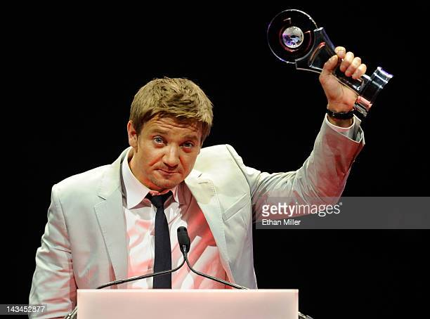 Actor Jeremy Renner accepts the Male Star of the Year Award at the CinemaCon awards ceremony at The Colosseum at Caesars Palace during CinemaCon the...