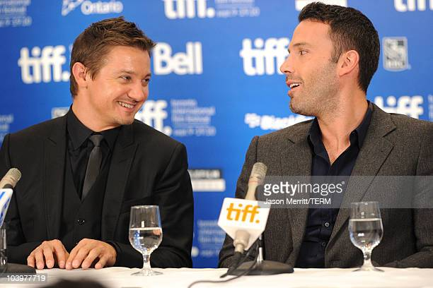 Actor Jeremy Renner and actor Ben Affleck speak at The Town press conference during the 2010 Toronto International Film Festival at the Hyatt Regency...