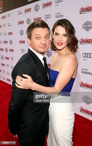 Actor Jeremy Renner and actress Cobie Smulders attend the world premiere of Marvel's 'Avengers Age Of Ultron' at the Dolby Theatre on April 13 2015...