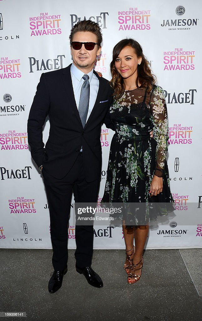 Actor Jeremy Renner (L) and actress Rashida Jones arrive at the 2013 Film Independent Filmmaker Grant And Spirit Awards Nominees Brunch at BOA Steakhouse on January 12, 2013 in West Hollywood, California.