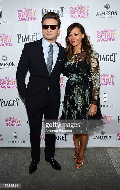 Actor Jeremy Renner and actress Rashida Jones arrive at the 2013 Film Independent Filmmaker Grant And Spirit Awards Nominees Brunch at BOA Steakhouse...