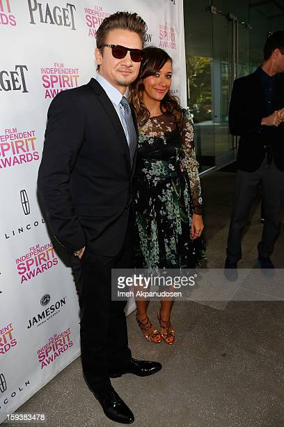 Actor Jeremy Renner and actress Rashida Jones attend the 2013 Film Independent Filmmaker Grant And Spirit Award Nominees Brunch at BOA Steakhouse on...