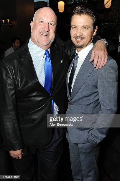 Actor Jeremy Renner and Bill Curtis celebrate with Kristoffer Winters the launch of Robb Report Home Style on June 6 2013 in Los Angeles California