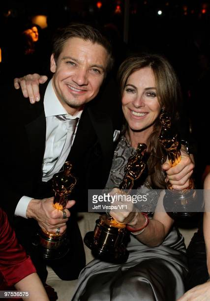 WEST HOLLYWOOD CA MARCH 07 *EXCLUSIVE* Actor Jeremy Renner and director Kathryn Bigelow attend the 2010 Vanity Fair Oscar Party hosted by Graydon...