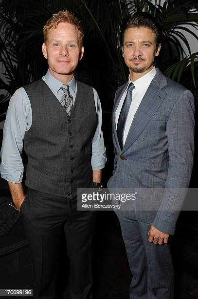 Actor Jeremy Renner and Kristoffer Winters celebrate the launch of Robb Report Home Style on June 6 2013 in Los Angeles California