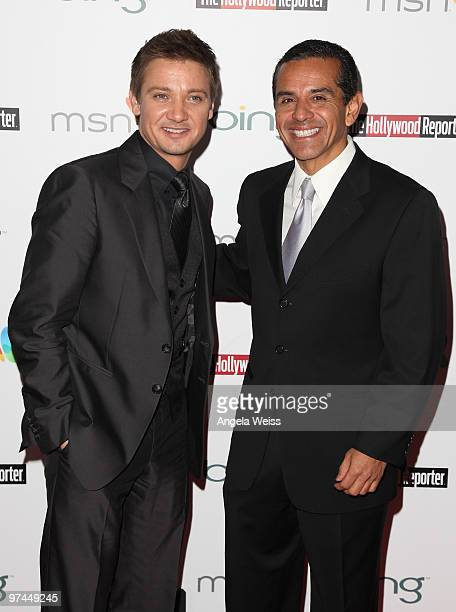 Actor Jeremy Renner and Mayor Antonio Villaraigosa attend The Hollywood Reporter's and the Mayor of Los Angeles' Oscar Nominees' Night presented by...