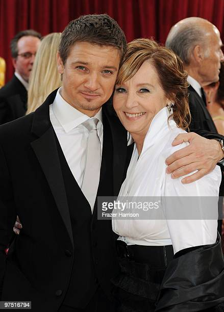 Actor Jeremy Renner and mother Valerie arrive at the 82nd Annual Academy Awards held at Kodak Theatre on March 7 2010 in Hollywood California