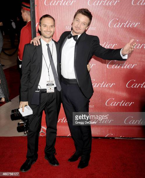 Actor Jeremy Renner and photographer Jeff Vespa arrive at the 25th Annual Palm Springs International Film Festival Awards Gala at Palm Springs...