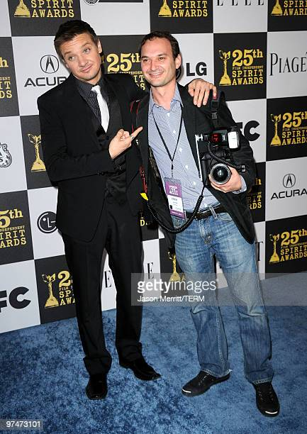 Actor Jeremy Renner and photographer Jeff Vespa arrive at the 25th Film Independent's Spirit Awards held at Nokia Event Deck at LA Live on March 5...