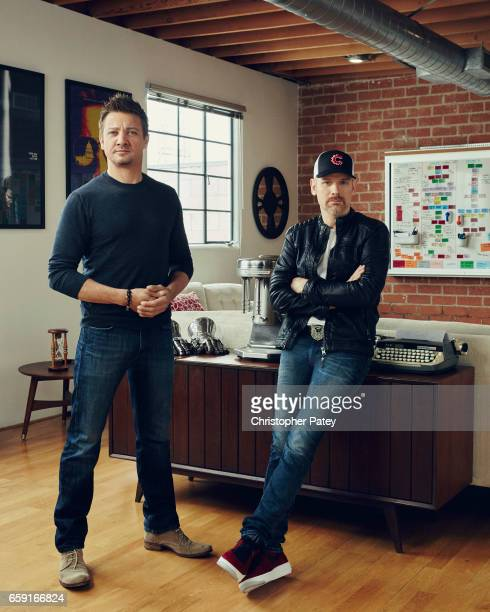 Actor Jeremy Renner and producer Don Handfield and photographed for The Hollywood Reporter on May 23 2016 in Los Angeles California Published Image