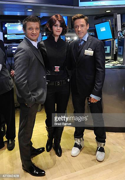 Actor Jeremy Renner and Robert Downey Jr attend Join Marvel Entertainment Executives Ring The NYSE Opening Bell In Celebration Of 'Marvel's Avengers...