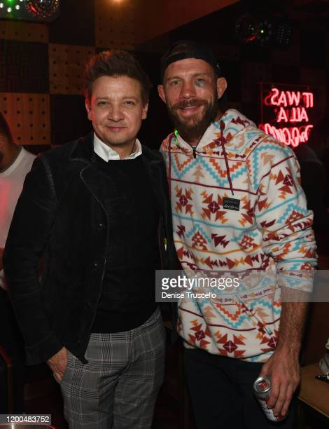 """Actor Jeremy Renner and UFC fighter Donald """"Cowboy' Cerrone attend the one-year anniversary celebration of On The Record Speakeasy And Club At Park..."""