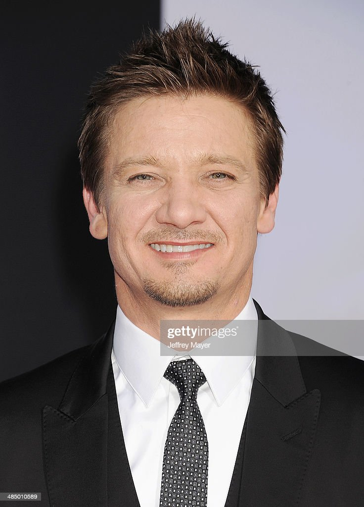 Actor Jeremy Renner arrives at the Los Angeles premiere of 'Captain America: The Winter Soldier' at the El Capitan Theatre on March 13, 2014 in Hollywood, California.