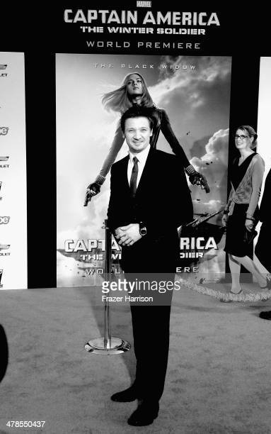Shot in Black and white Not available in color Actor Jeremy Renner arrives at the premiere Of Marvel's 'Captain AmericaThe Winter Soldier at the El...