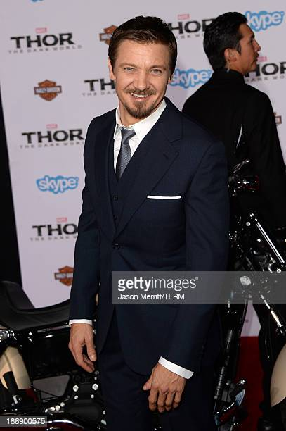 Actor Jeremy Renner arrives at the premiere of Marvel's Thor The Dark World at the El Capitan Theatre on November 4 2013 in Hollywood California