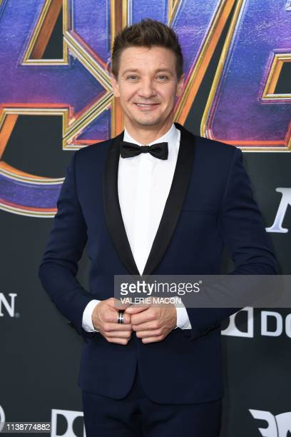 US actor Jeremy Renner arrives for the World premiere of Marvel Studios' Avengers Endgame at the Los Angeles Convention Center on April 22 2019 in...