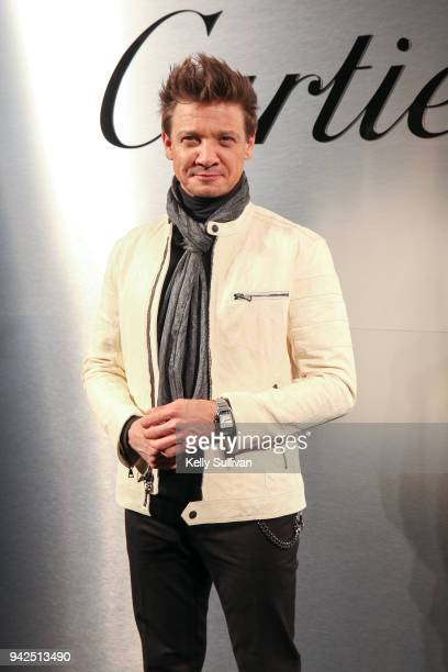 Actor Jeremy Renner arrives on the red carpet for the Santos de Cartier Watch Launch at Pier 48 on April 5 2018 in San Francisco California
