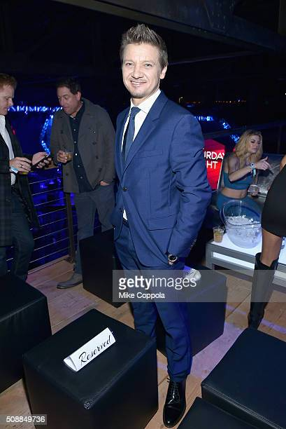 Actor Jeremy Renner attends DirecTV Super Saturday Night Cohosted by Mark Cuban's AXS TV at Pier 70 on February 6 2016 in San Francisco California