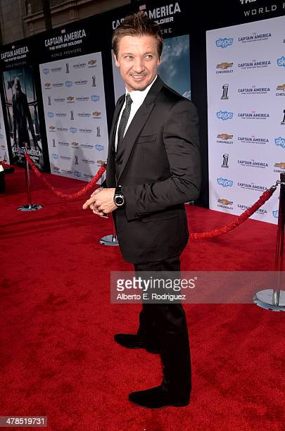"""Actor Jeremy Renner attends Marvel's """"Captain America: The Winter Soldier"""" premiere at the El Capitan Theatre on March 13, 2014 in Hollywood,..."""