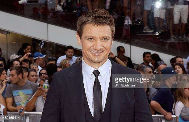 Actor Jeremy Renner attends the 'Mission Impossible Rogue Nation' New York premiere at Times Square on July 27 2015 in New York City