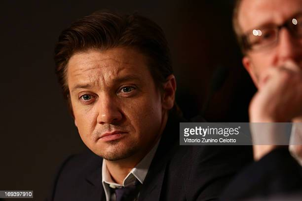 Actor Jeremy Renner attends the press conference for 'The Immigrant' at The 66th Annual Cannes Film Festival at the Palais des Festivals on May 24...