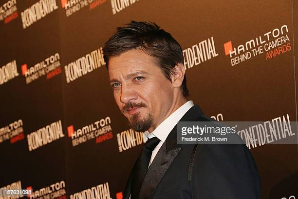 Actor Jeremy Renner attends the Seventh Annual Hamilton Behind the Camera Awards at The Wilshire Ebell Theatre on November 10 2013 in Los Angeles...